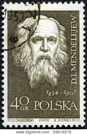 Poland - Circa 1959: A Stamp Printed In Poland Shows Dmitri Mendeleev (1834-1907), Circa 1959