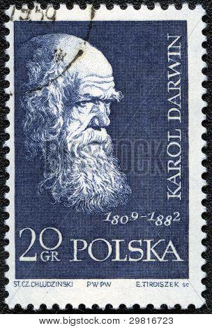 Poland - Circa 1959: A Stamp Printed In Poland Shows Charles Darwin (1809-1882), Circa 1959