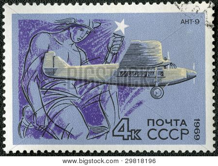 Ussr - Circa 1969: A Stamp Printed By Ussr Shows Passenger Aircraft Ant-9, Circa 1969
