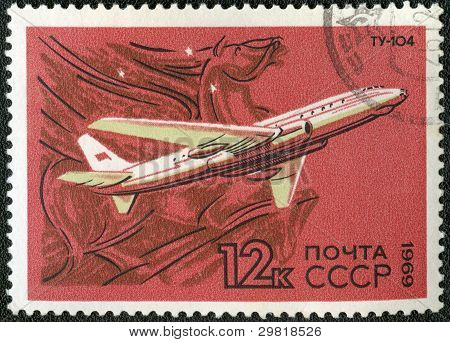 Ussr - Circa 1969: A Stamp Printed By Ussr Shows  Turbojet-powered Soviet Airliner Tu-104, Circa 196
