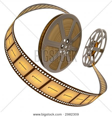 Film Reel Over White