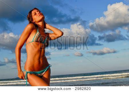 Sexy Model On Beach Striped Bikini