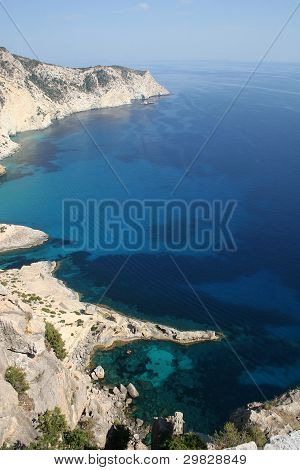 Aerial View of Ibiza Island Coastli