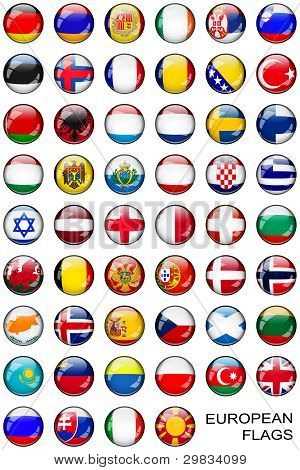 Button European Flags over white
