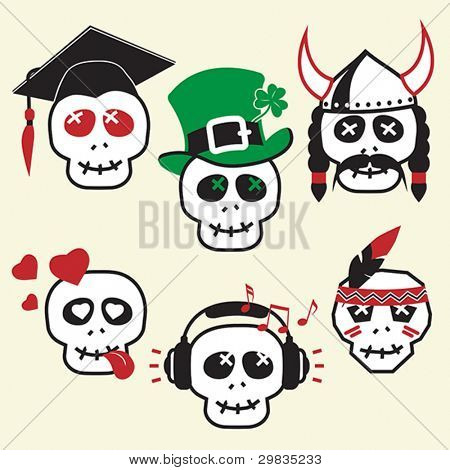Funny skulls, smiles, various emotions and characters, Vector format EPS 8, CMYK.