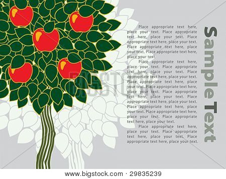 Template with apple tree, Vector format EPS 8, CMYK.