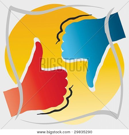 Thumbs up and down, approval and disapproval concept, Vector format EPS 8, CMYK.
