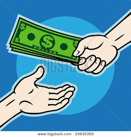 Hand, giving money to other hand, Vector format EPS 8, CMYK.