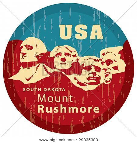 Mount Rushmore National Memorial. USA landmark, Shrine of Democracy. South Dakota. Vector format EPS 8, CMYK.