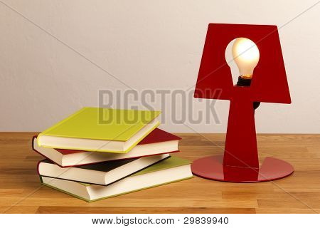 Books with a lamp