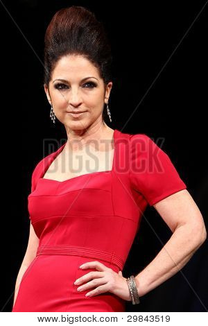 NEW YORK - FEBRUARY 8: Gloria Estefan wears Narcisso Rodriguez at The Heart Truth's Red Dress Collection 2012 Fashion Show at the Hammerstein Ballroom on February 8, 2012 in New York City.