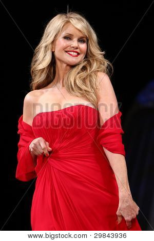NEW YORK - FEBRUARY 8: Christie Brinkley wears Pamella Roland at The Heart Truth's Red Dress Collection 2012 Fashion Show at the Hammerstein Ballroom on February 8, 2012 in New York City.