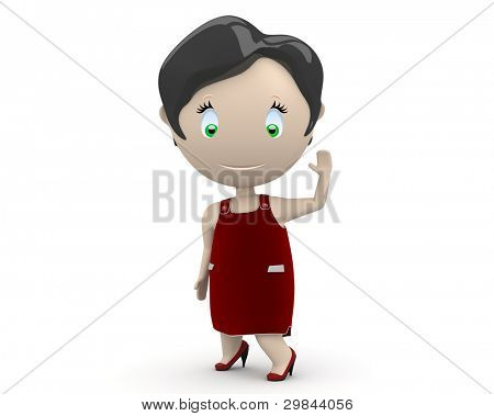 Hello cutie in red dress! Social 3D characters: happy smiling beautiful girl waves her hand wearing red dress. New constantly growing collection of expressive unique multiuse people images. Isolated.