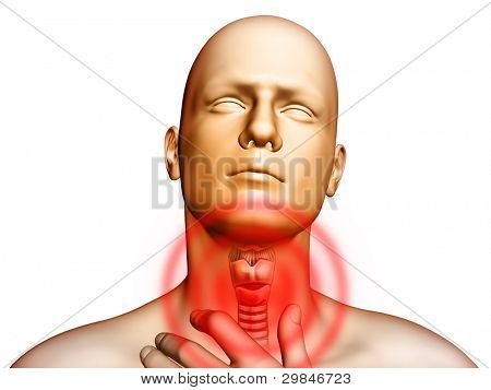 Medical illustration showing pain located in the throat area. Digital illustration.