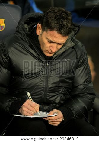 BARCELONA - FEB, 4: Philippe Montanier of Real Sociedad in action during the Spanish league match against FC Barcelona at the Camp Nou stadium on February 4, 2012 in Barcelona, Spain