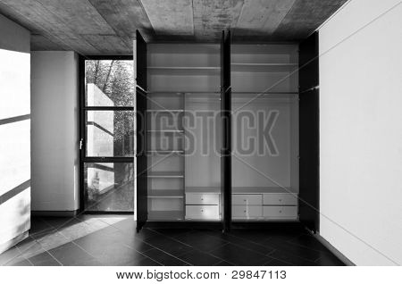 interior room,closet doors open, black and white,