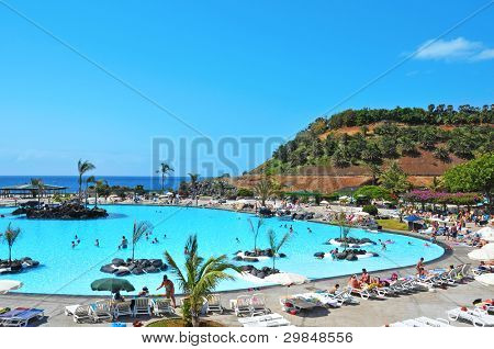 SANTA CRUZ DE TENERIFE, SPAIN - JUNE 23: Parque Maritimo Cesar Manrique on June 23, 2011 in Santa Cruz de Tenerife, Spain. The pools of this public complex are filled with seawater
