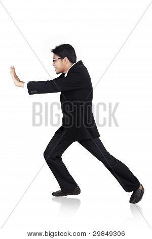 Businessman Pushing Pose