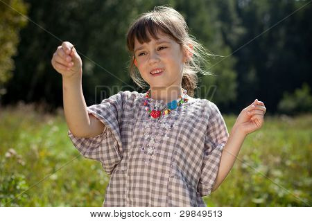 The Little Girl Caught In The Meadow Grasshopper