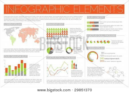 Big Vector set of Infographic elements for your documents and reports (red and green version)