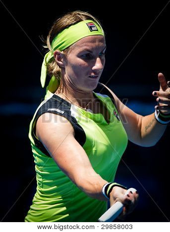 MELBOURNE - JANUARY 21: Svetlana Kuznetsova of Russia in her third round loss to sabine Lisickiof Germany at the 2012 Australian Open on January 21, 2012 in Melbourne, Australia.