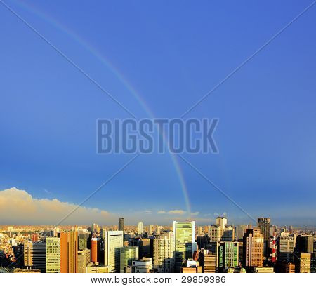 Rainbow over the Umeda District in Osaka, Japan.
