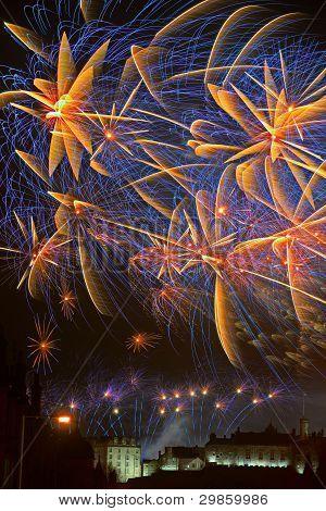 Spectacular Fireworks Over Edinburgh Castle, Scotland Celebrating Hogmanay
