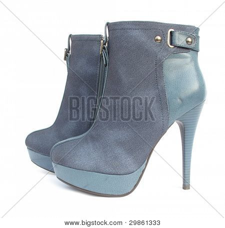 Combined blue high heels ankle boots