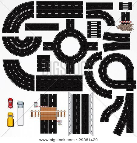 Collection of Isolated Seamless Highway Elements, Constructions and Various Vehicles. Vector Map Kit #1. Road Clip Art Series.
