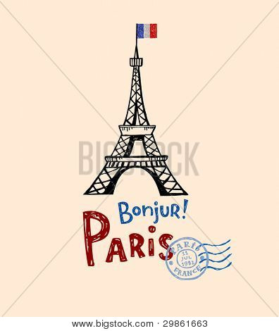 Eiffel tower in Paris, post card in doodle style