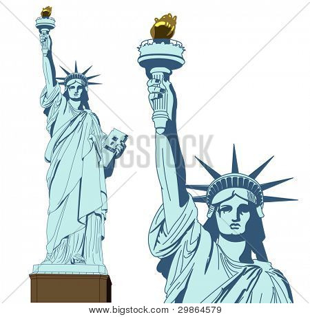 statue of Liberty in very high detail in vector art - self drawn