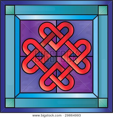 Stained glass with Celtic hearts. EPS10 vector format.