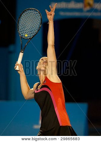 MELBOURNE - JANUARY 22 Jelena Jankovic of Serbia in her fourth round loss to Caroline Wozniacki of Denmark  at the 2012 Australian Open on January 22, 2012 in Melbourne, Australia.