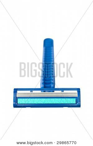 A new disposable razor shaving blade with blue lubricant strip