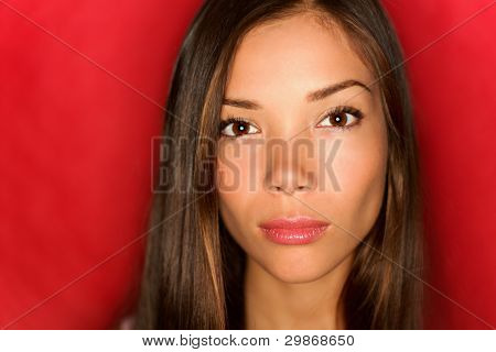 Asian Beauty Woman Serious Portrait