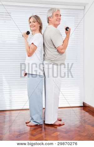 Happy senior couple doing dumbbell fitness exercises in gym