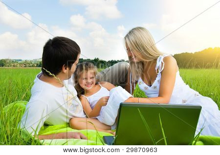 Happy family enjoy outdoors