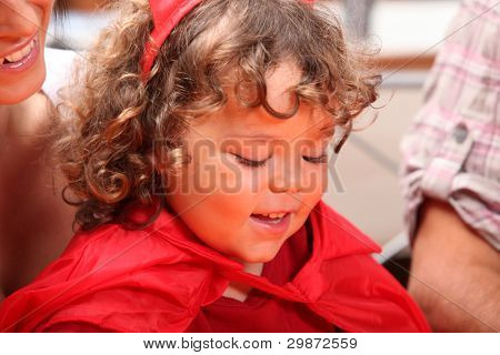 Young girl dressed up on Halloween