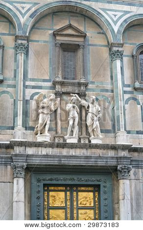 Fragment Of East Gate Of Baptistery In Florence