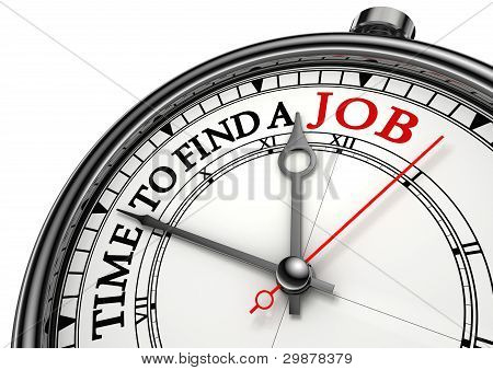 Time To Find A Job Concept Clock