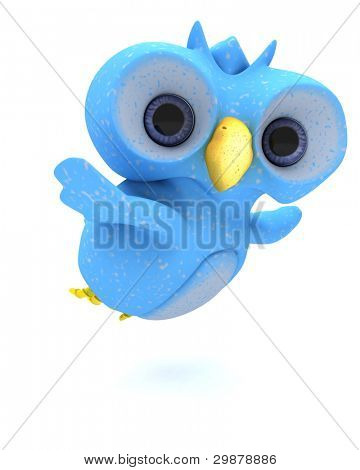 3D Render of a Cute Blue Bird Character