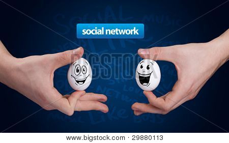 Happy group of eggs with smiling faces, social network theme