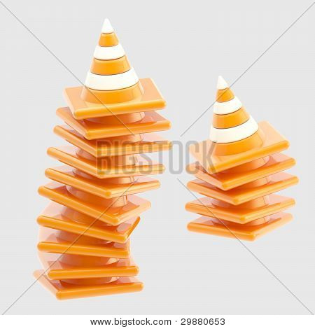 Pile of traffic safety orange road cones isolated