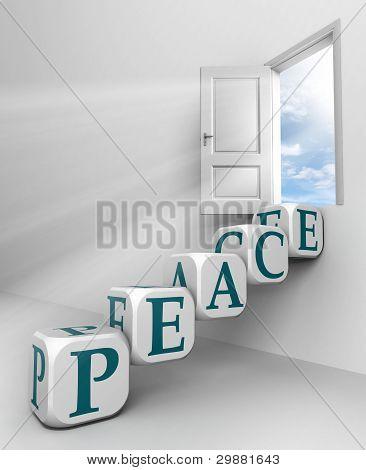 Peace Red Word Conceptual Door