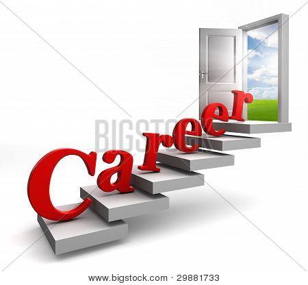 Career Word On Stair Up To Open Door