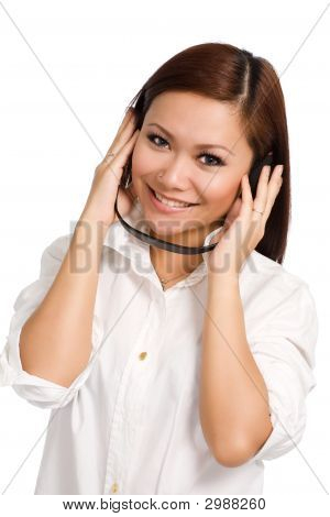 Woman Happy Listening On Her Headphone
