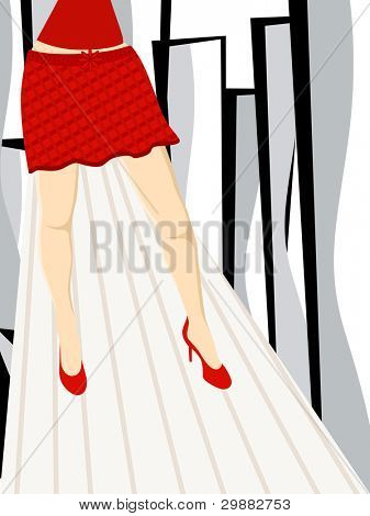 Vector illustration of beautiful lags of a girl on the abstract background for Women's Day and other occasions.