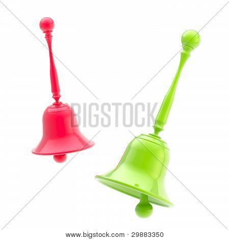 Two glossy green and scarlet handbells isolated