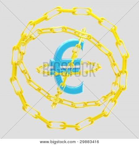 Euro sign encircled with golden chains isolated