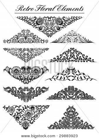 Vintage floral elements. Vector illustration.